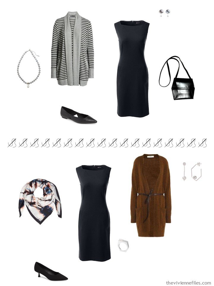 6. 2 ways to wear a black dress from a travel capsule wardrobe