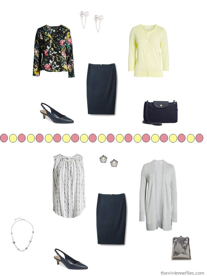 6. 2 ways to wear a navy skirt from a travel capsule wardrobe