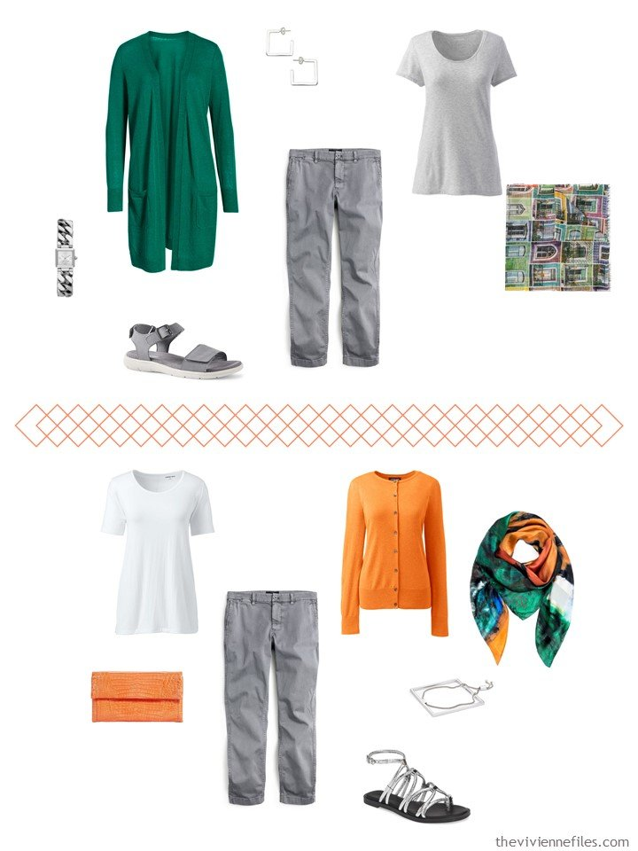 6. 2 ways to wear light grey capris from a travel capsule wardrobe