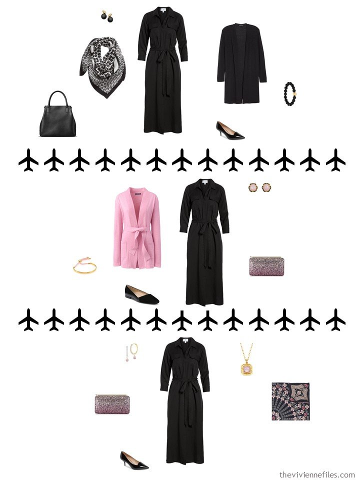 6. 3 ways to wear a black dress from a travel capsule wardrobe