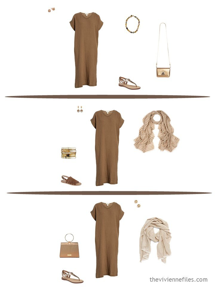 6. 3 ways to wear a brown dress from a travel capsule wardrobe