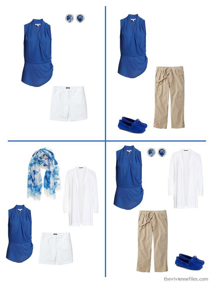 6. 4 ways to wear a sleeveless top in blue mazarine