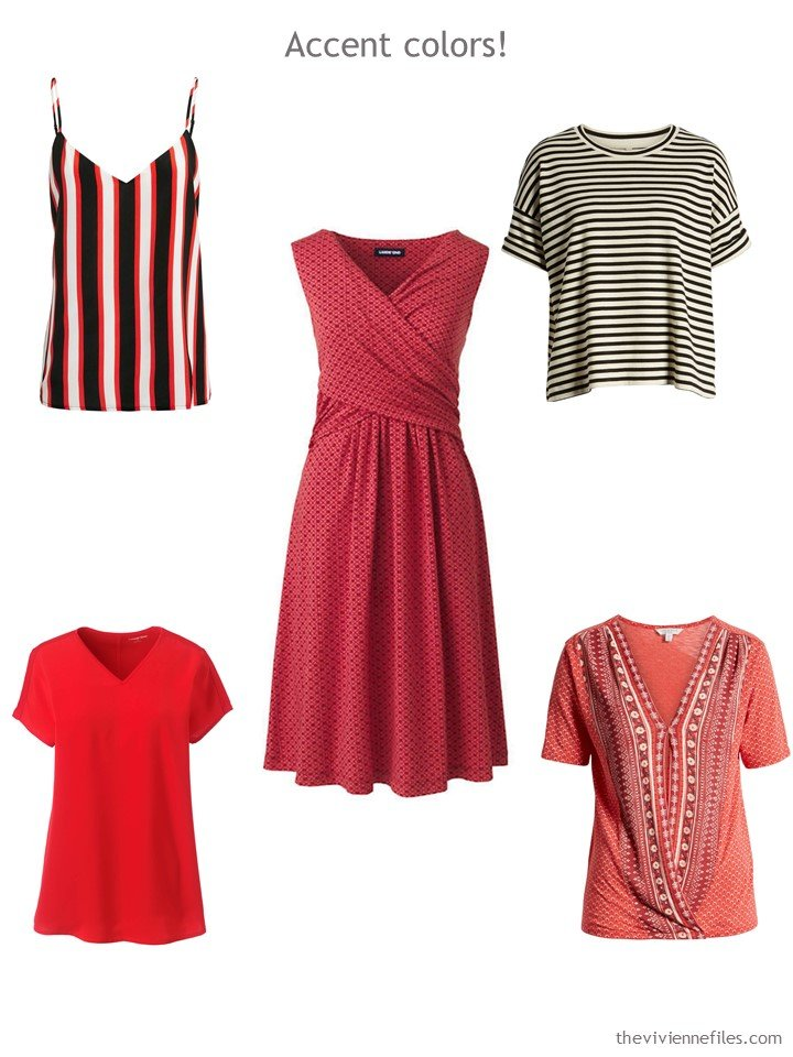 6. 5 accent garments in red, beige and black