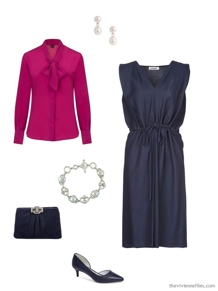 6. a fuschia blouse with a navy dress
