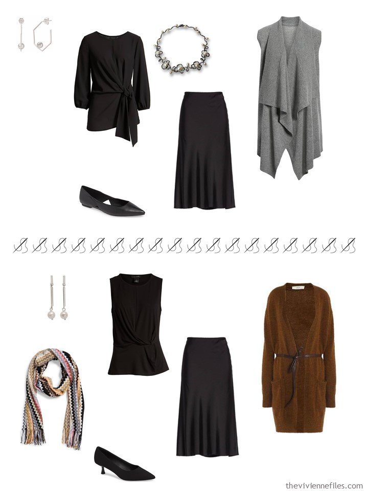 7. 2 ways to wear a black skirt from a travel capsule wardrobe