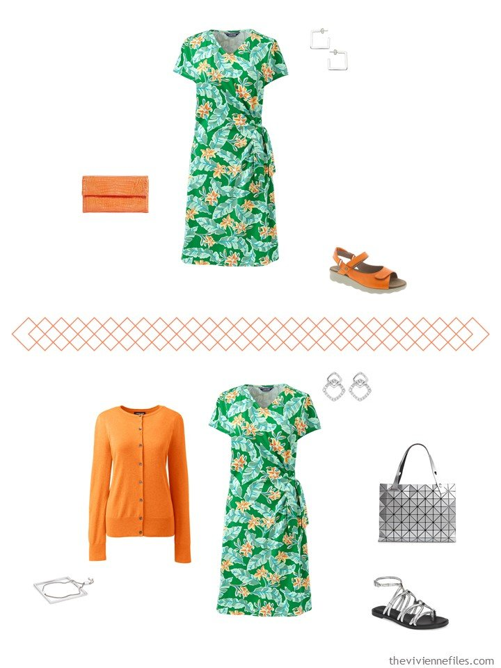 7. 2 ways to wear a green print dress from a travel capsule wardrobe