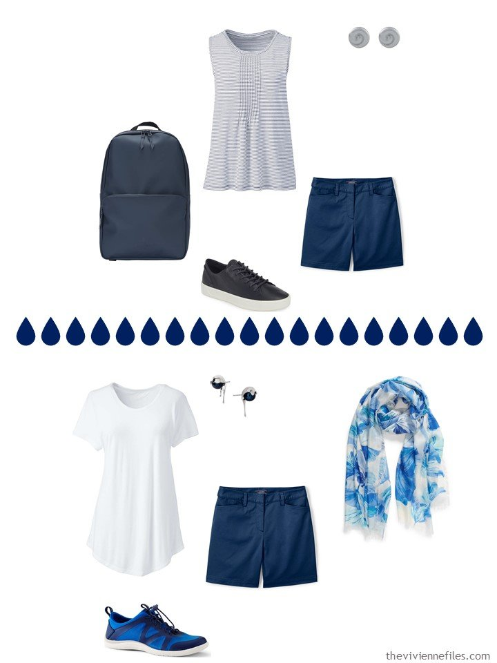7. 2 ways to wear navy shorts from a travel capsule wardrobe