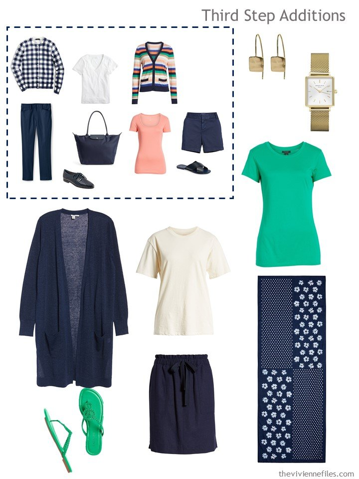 7. 2nd outfit to pack in navy, ivory and green
