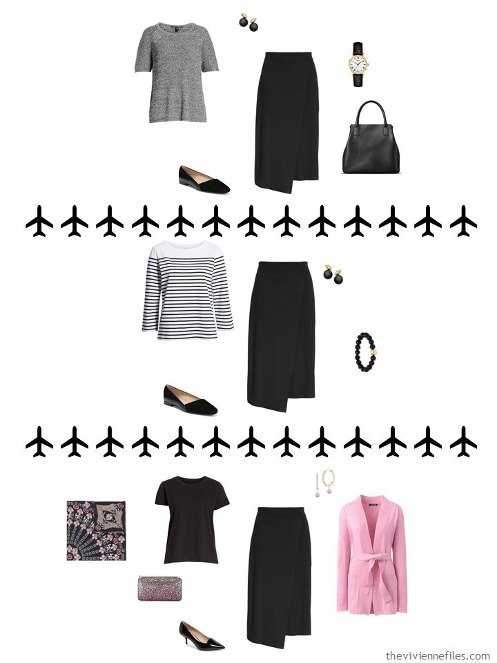 7. 3 ways to wear a black skirt from a travel capsule wardrobe