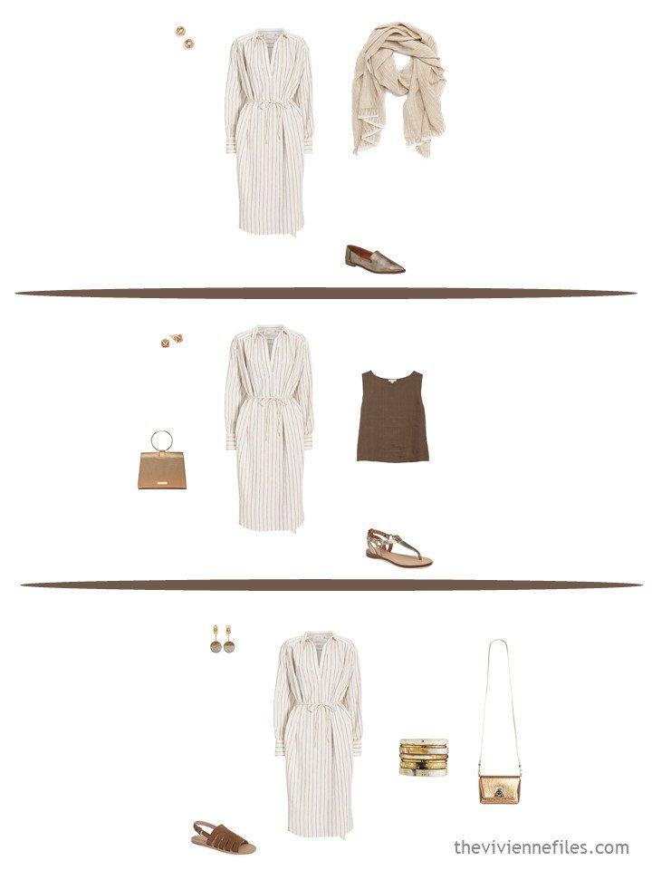 7. 3 ways to wear a striped dress from a travel capsule wardobe