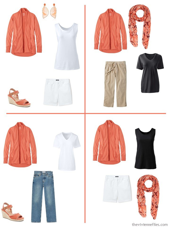 7. 4 outfits using a russet orange cardigan