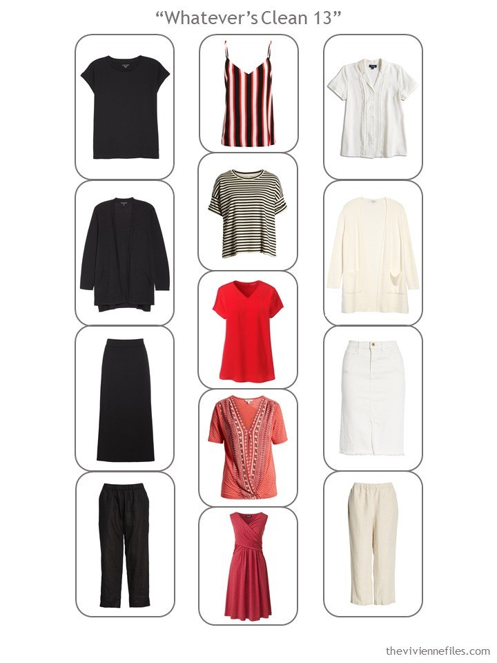 7. a 13-piece Whatevers Clean Wardrobe in black, red and beige