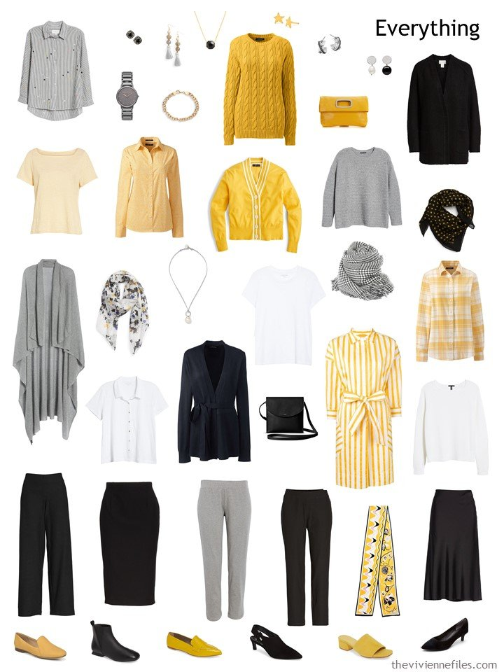 8. 2 season capsule wardrobe in black, grey, yellow and white
