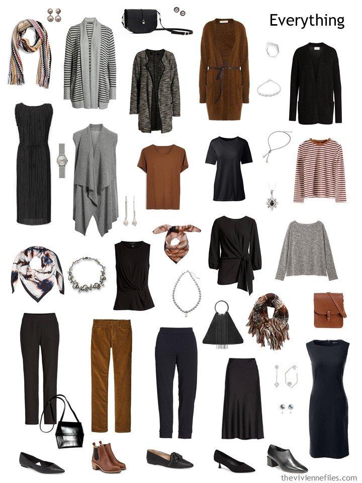 8. 2 season travel capsule wardrobe in black, grey and brown