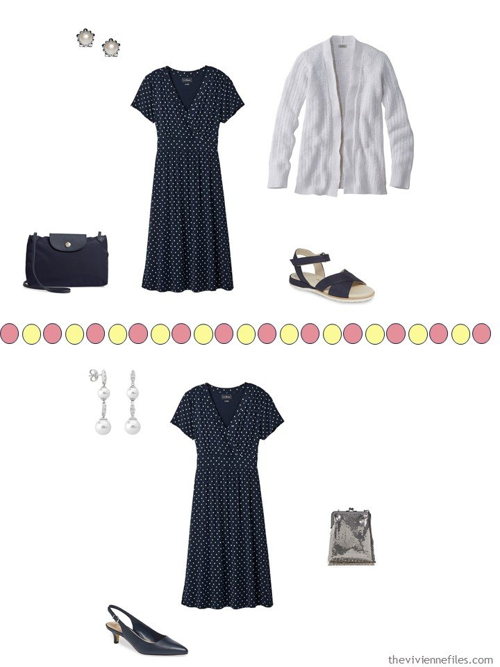 8. 2 ways to wear a navy dotted dress from a travel capsule wardrobe