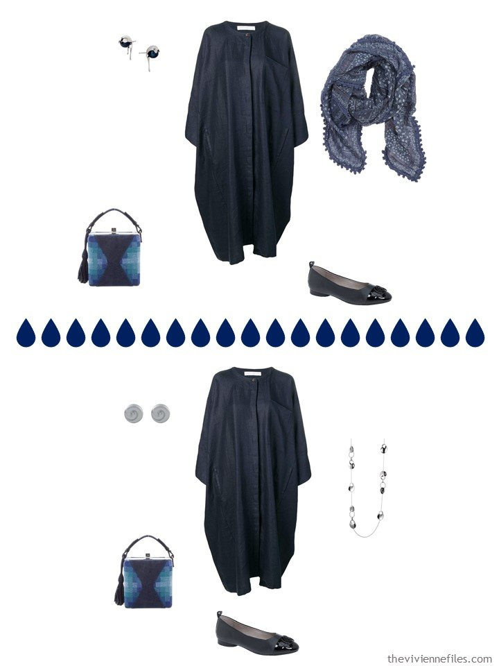 8. 2 ways to wear a navy dress from a travel capsule wardrobe