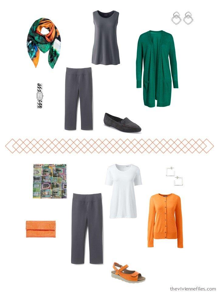 8. 2 ways to wear dark grey capris from a travel capsule wardrobe