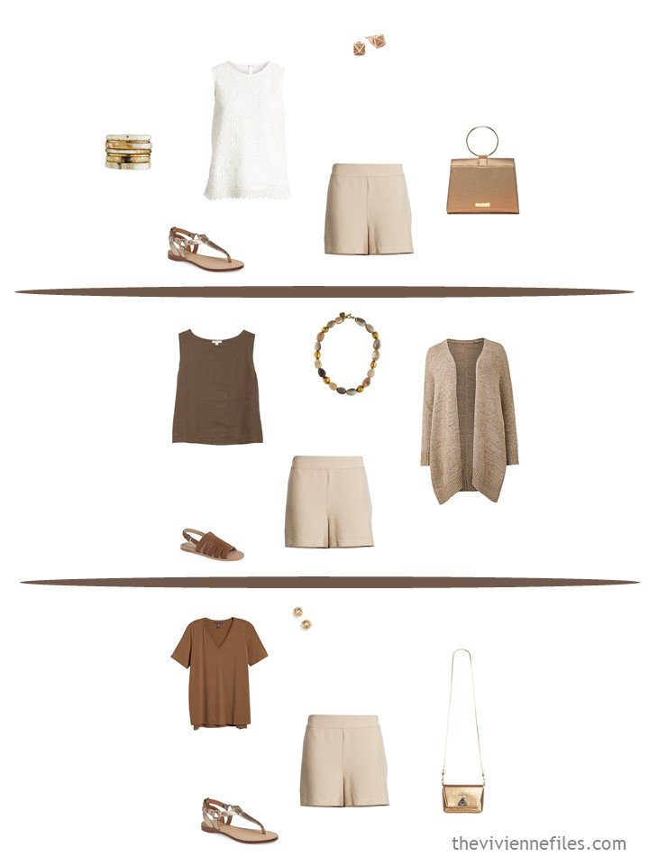 8. 3 ways to wear beige shorts from a travel capsule wardrobe