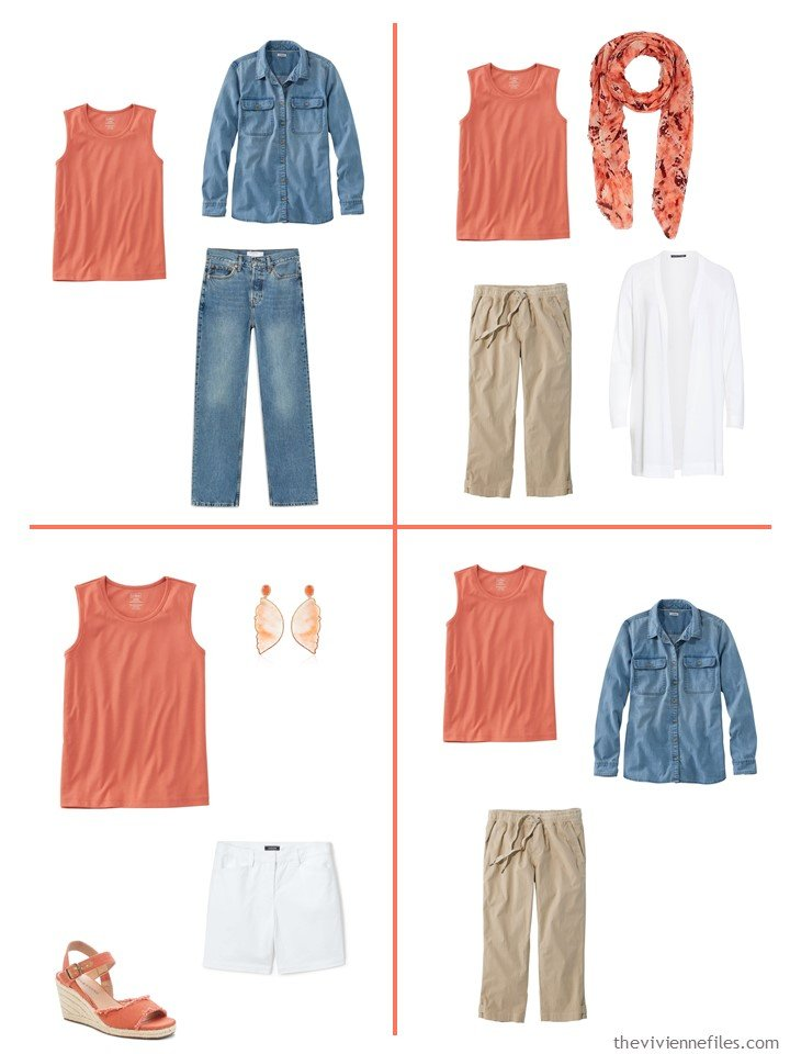 8. 4 outfits using a russet orange sleeveless top