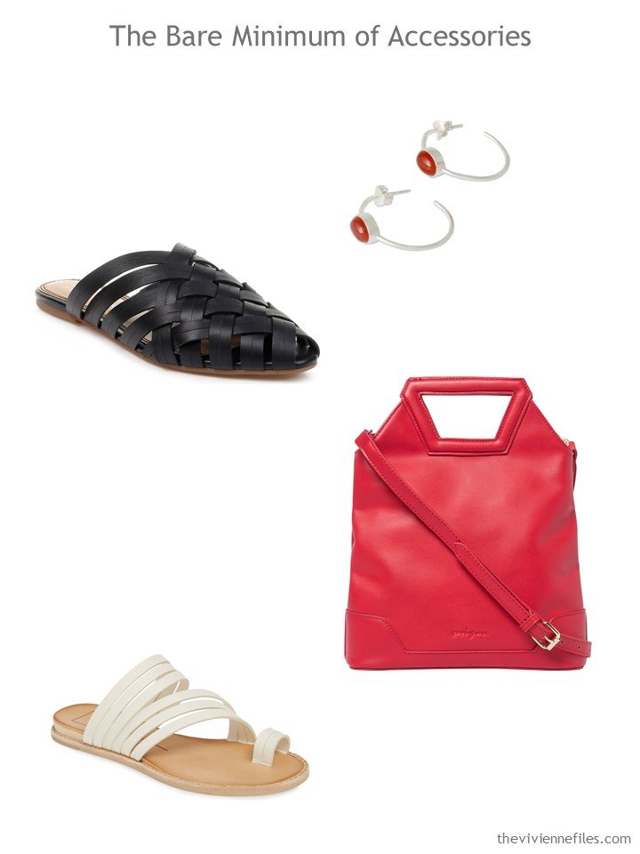8. accessories in black, beige and red