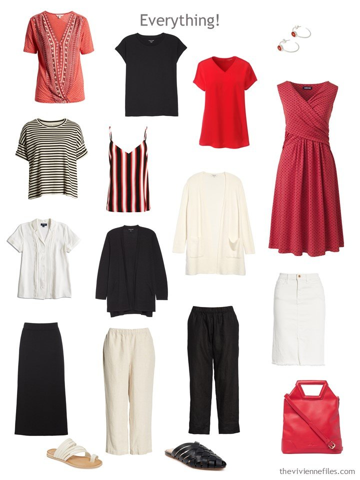 9. 13-piece travel capsule wardrobe in black, red and beige