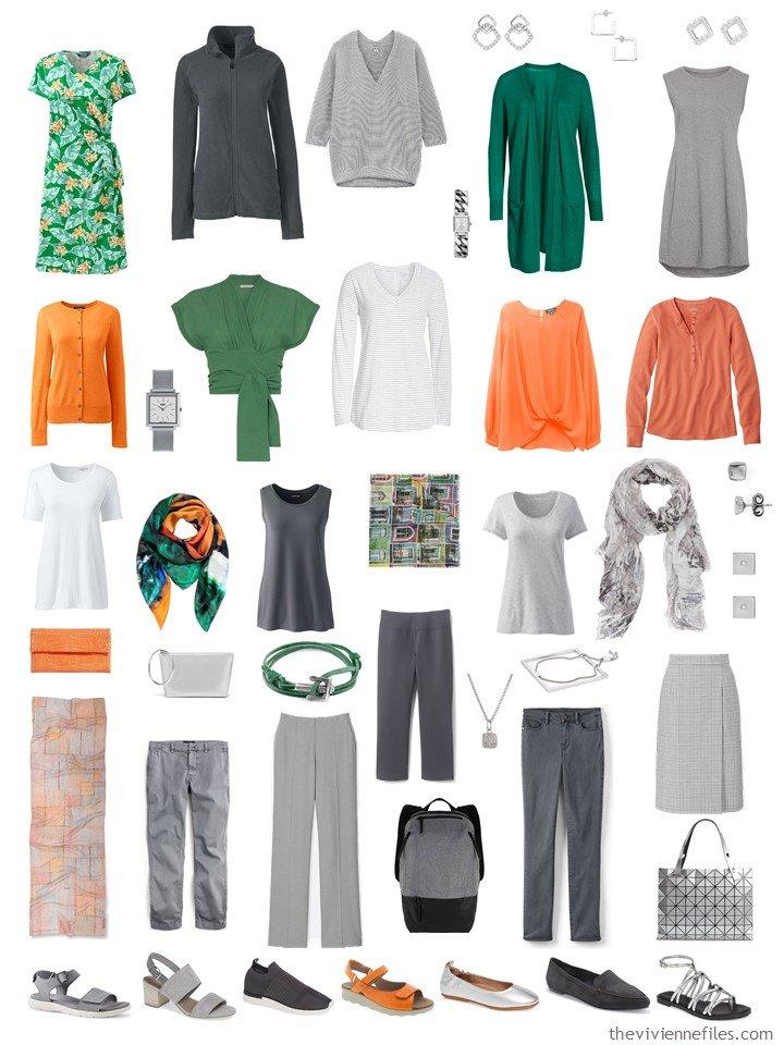 9. 2 season capsule wardrobe in grey, green, orange and white
