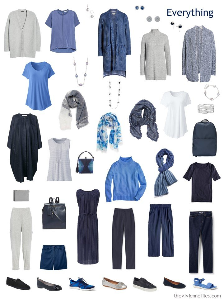9. 2 season capsule wardrobe in navy, grey, blue and white
