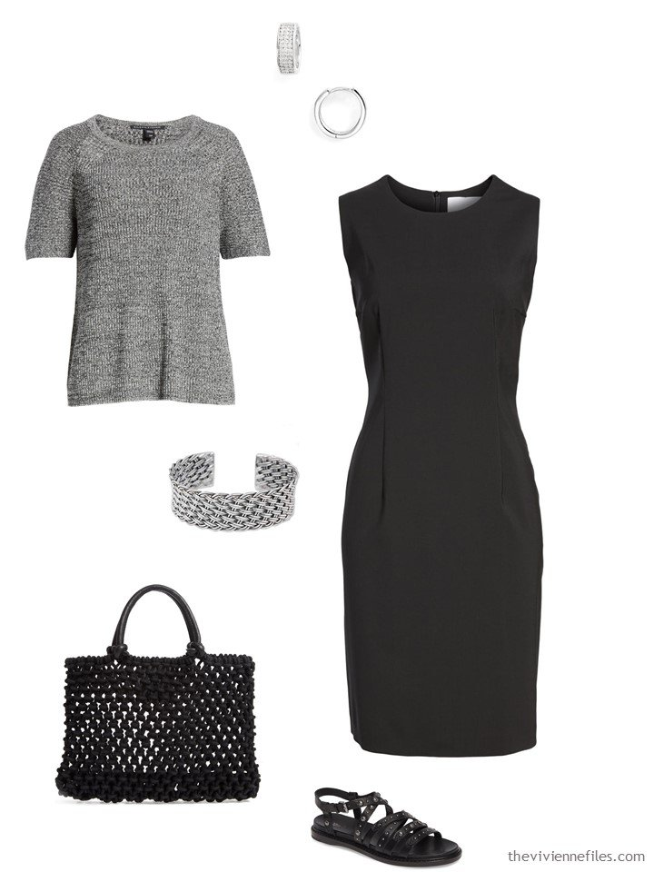 9. grey marled sweater with a black dress