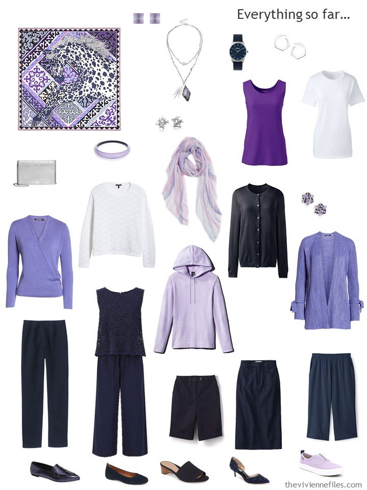 9. travel capsule wardrobe in navy and shades of purple