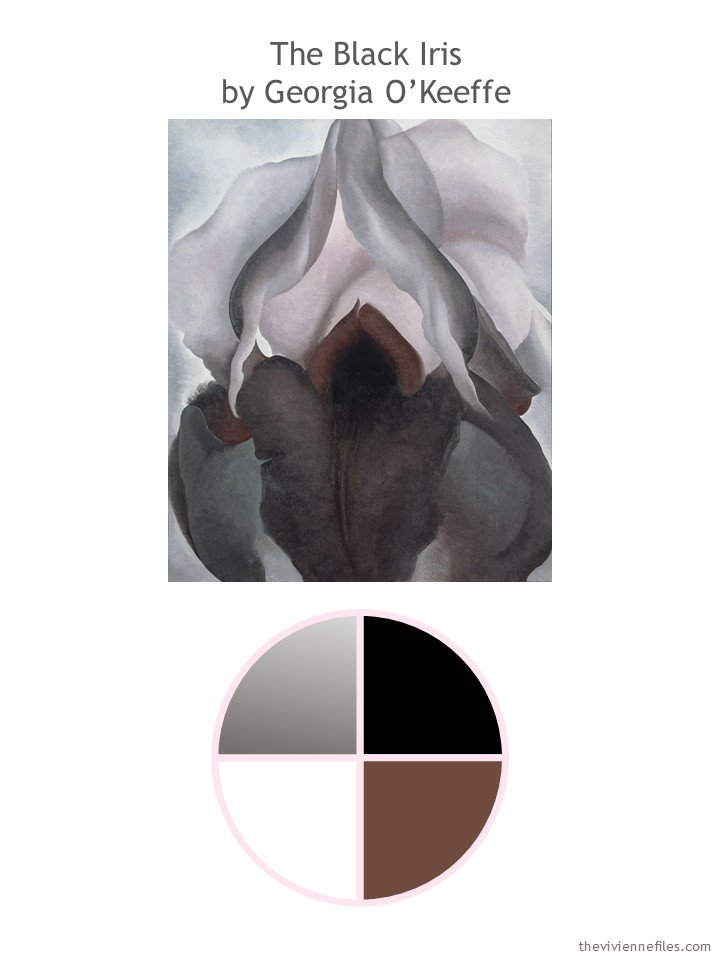 1. Black Iris by O'Keeffe with color palette