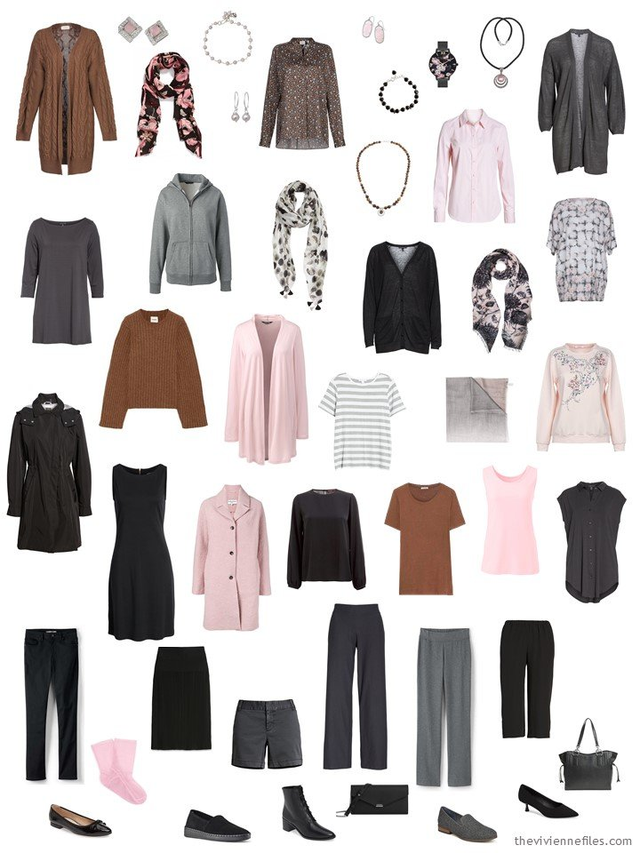 10. 23-piece capsule wardrobe in black, grey, brown and pink
