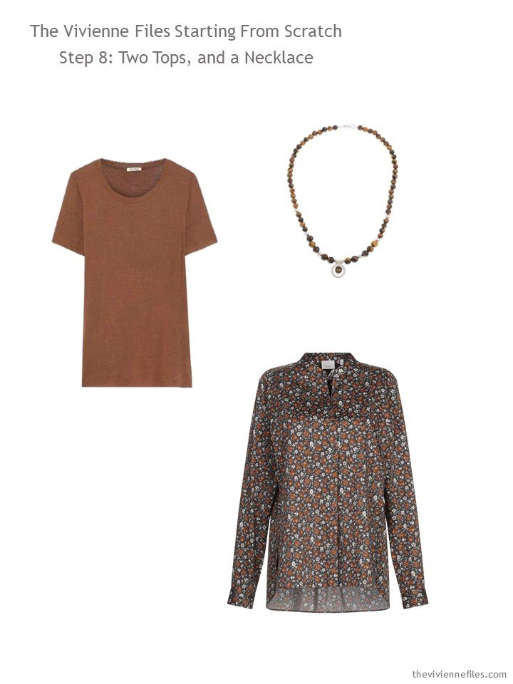 10. adding a brown tee, floral shirt and necklace to a wardrobe