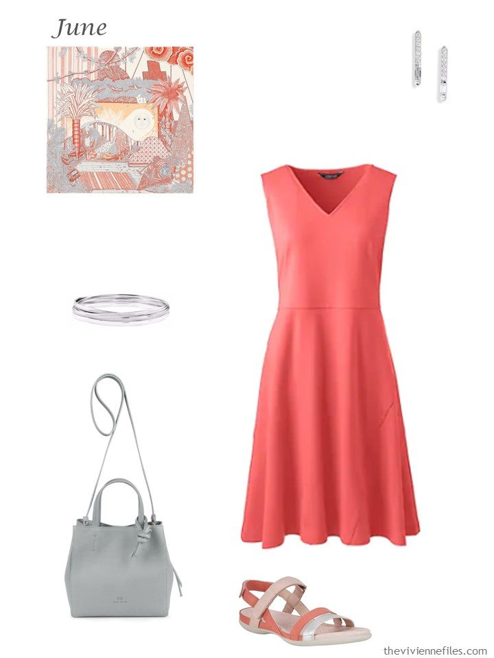 10. coral summer dress with accessories