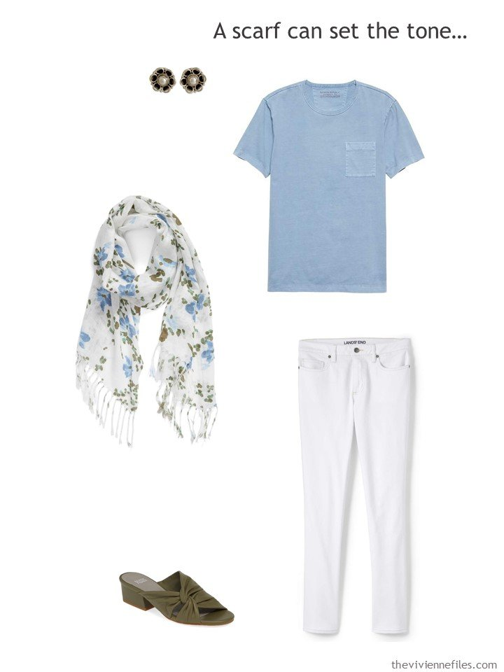 10. wearing white jeans with a floral scarf