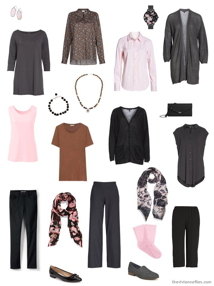 11. 11-piece wardrobe in black, grey, brown and pink