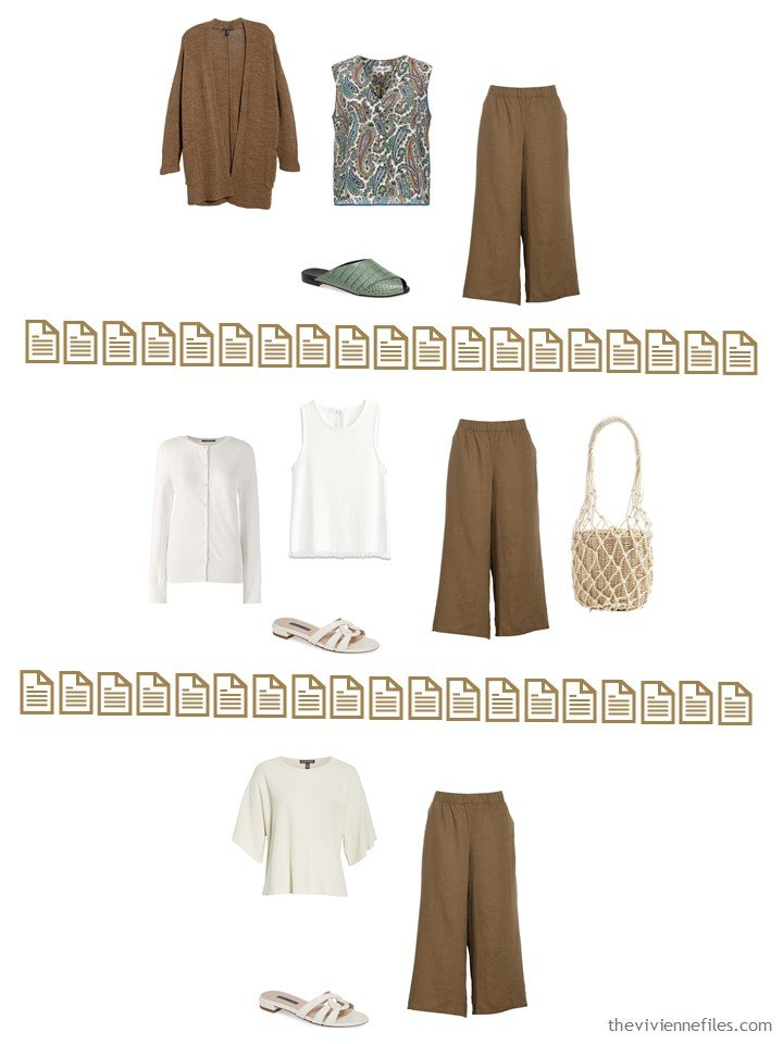 11. 3 ways to wear brown pants from a Whatever's Clean 13 Wardrobe