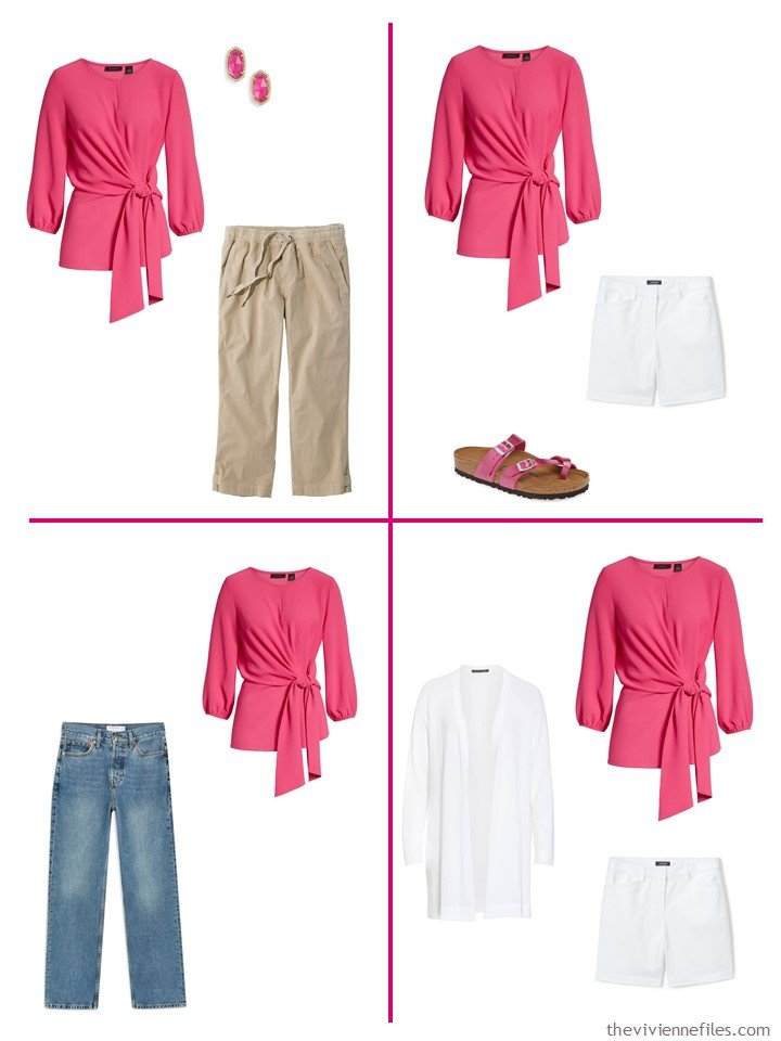 11. 4 ways to wear a hot pink wrap top