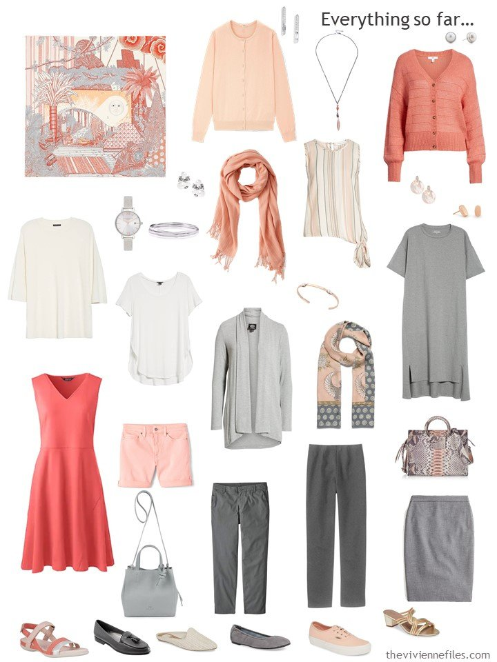11. capsule wardrobe in grey, ivory and shades of apricot and coral