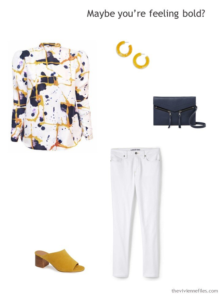 11. wearing white jeans with a bold silk blouse