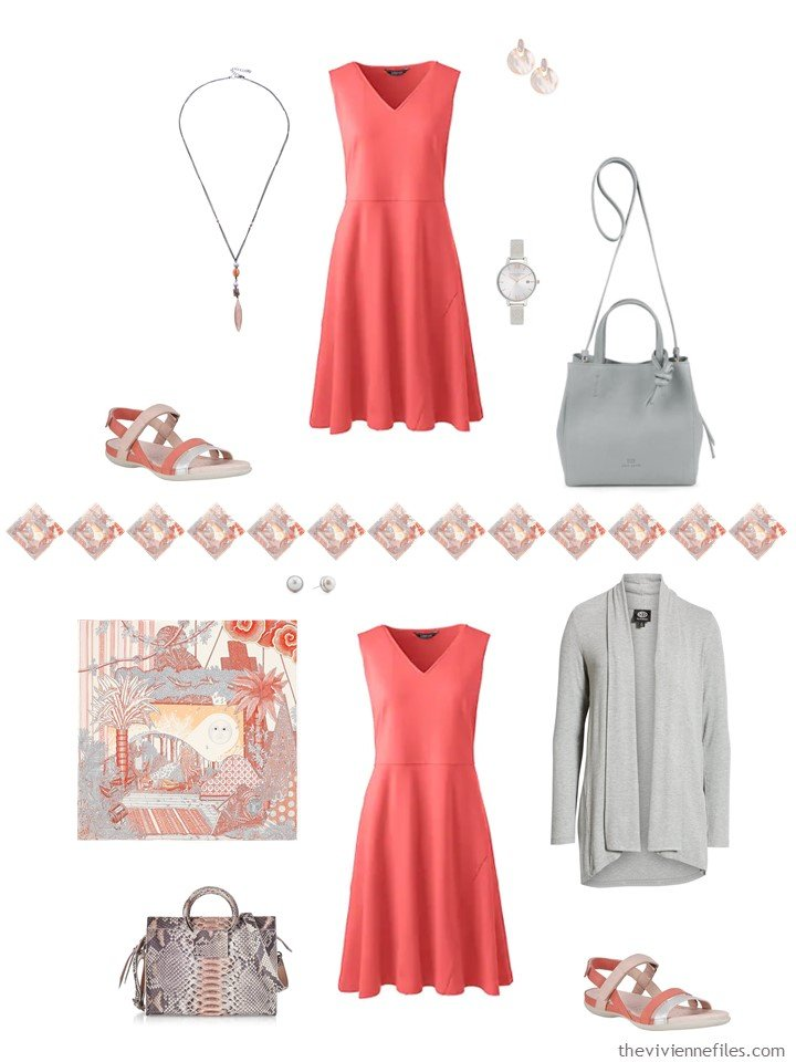 12. 2 ways to wear a coral dress from capsule wardrobe