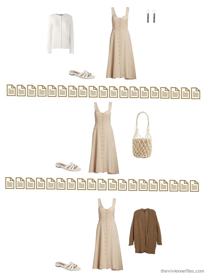 12. 3 ways to wear a beige dress from a Whatever's Clean 13 Wardrobe