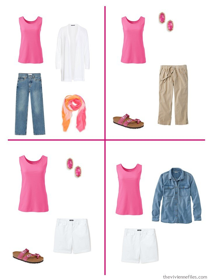 12. 4 ways to wear a hot pink tank top