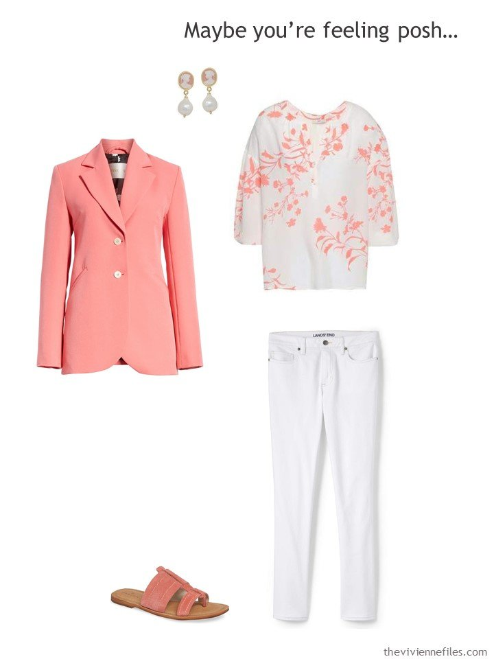 12. wearing white jeans with a pink blazer and floral blouse