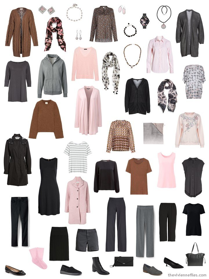 13. 26-piece capsule wardrobe in black, grey, brown and pink