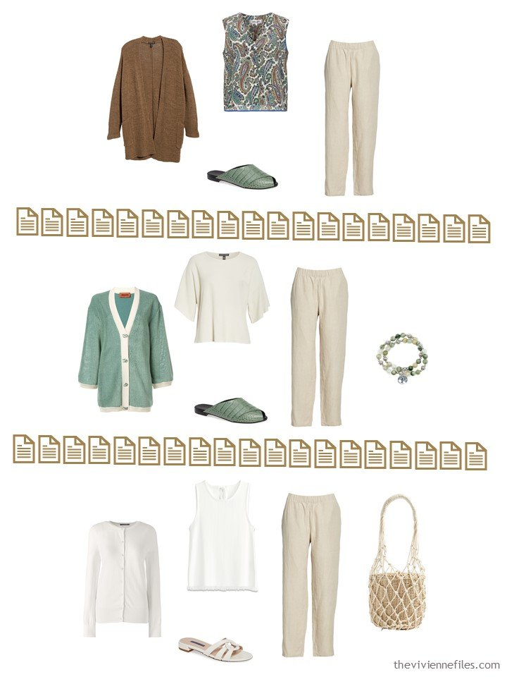 14. 3 ways to wear beige pants from a Whatever's Clean 13 Wardrobe