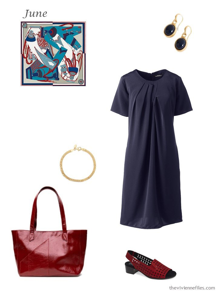14. navy summer dress with accessories