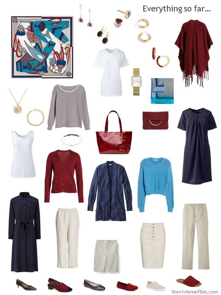 15. capsule wardrobe in navy, beige, and wine