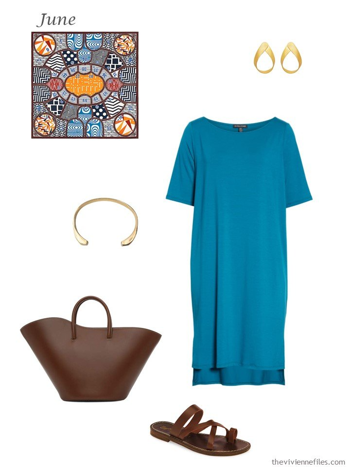18. summer turquoise dress with accessories