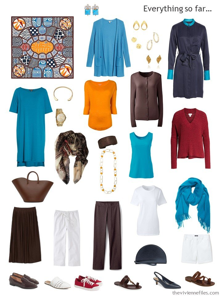 19. capsule wardrobe in brown, turquoise, red, and white