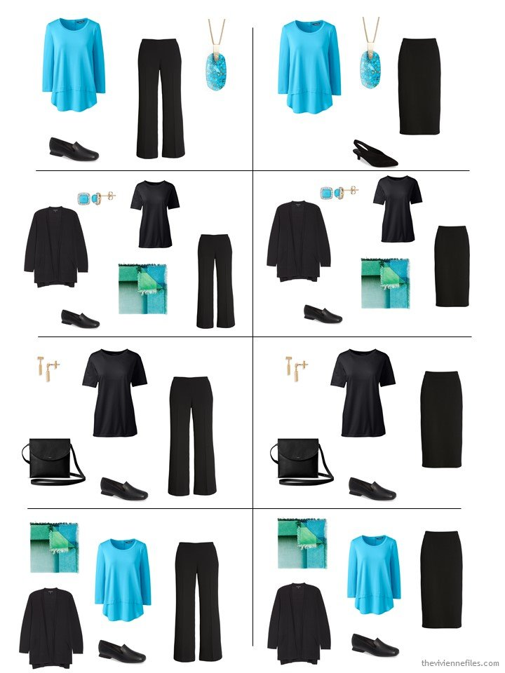 2. 8 outfits from a 5-piece wardrobe cluster